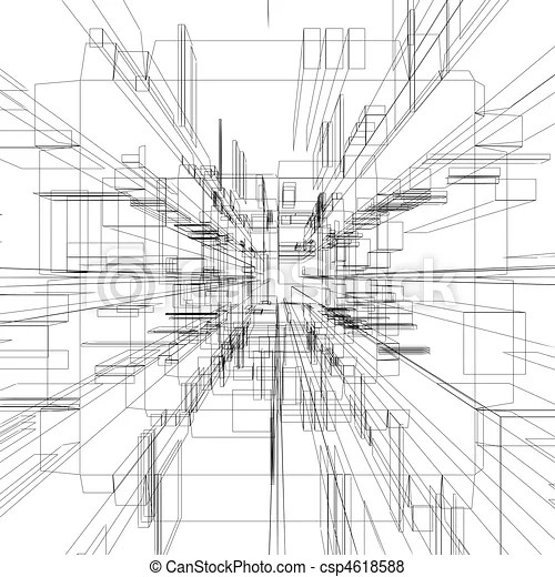 Abstract wireframe at white background stock illustration