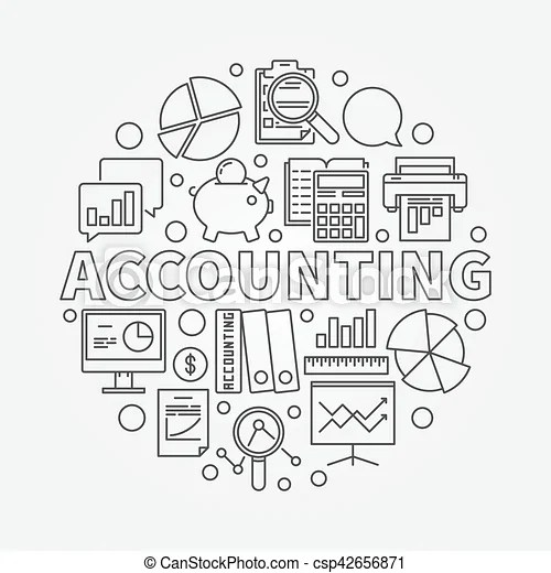 Accounting round linear illustration. vector business