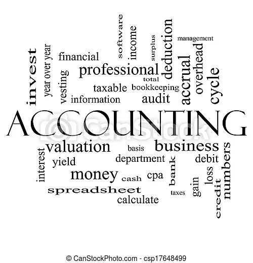 Accounting word cloud concept in black and white with