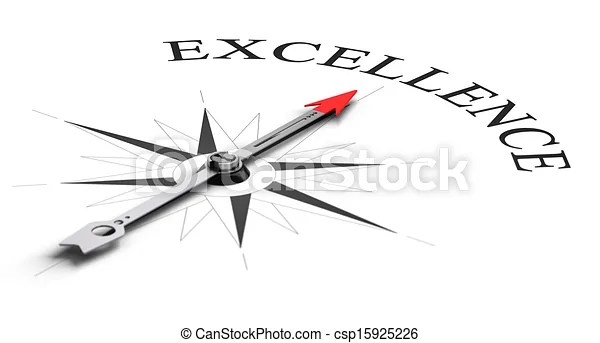 Achieving excellence. Compass concept with the needle