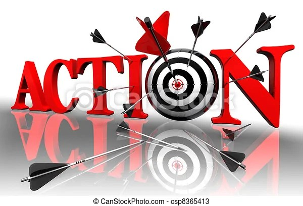 action red word and