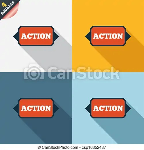 Action sign icon. motivation button with arrow. four squares. colored flat design buttons.