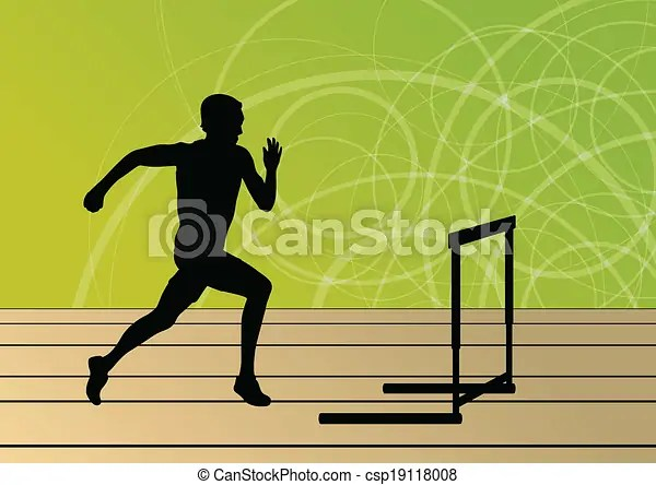 Active men sport athletics hurdles barrier running silhouettes illustration collection background vector.