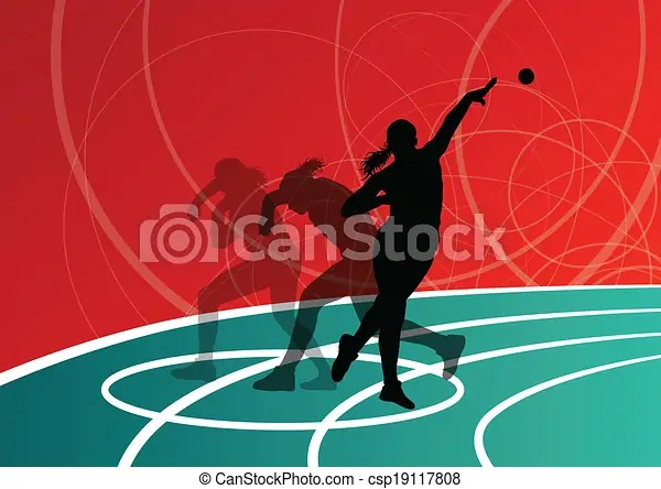 Active shot putter woman sport athletics ball throwing silhouettes abstract illustration background vector.