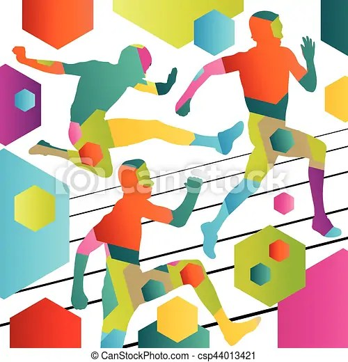 Active young men sport athletics hurdles barrier running silhouettes abstract background illustration.