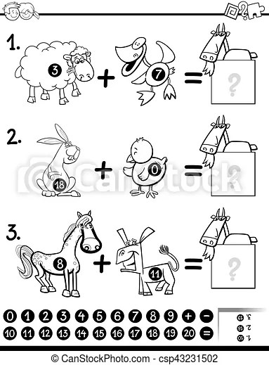 Addition activity coloring page. Black and white cartoon