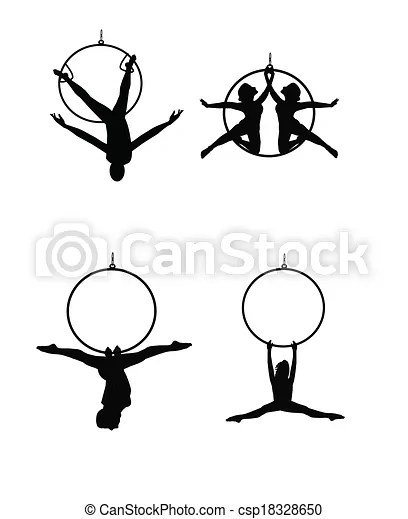 Aerial dancers. Dancers and acrobats hanging from hoops