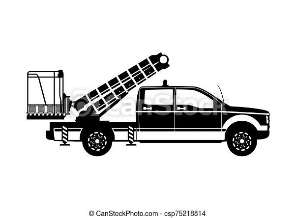 Aerial work platform. boom lift silhouette. side view
