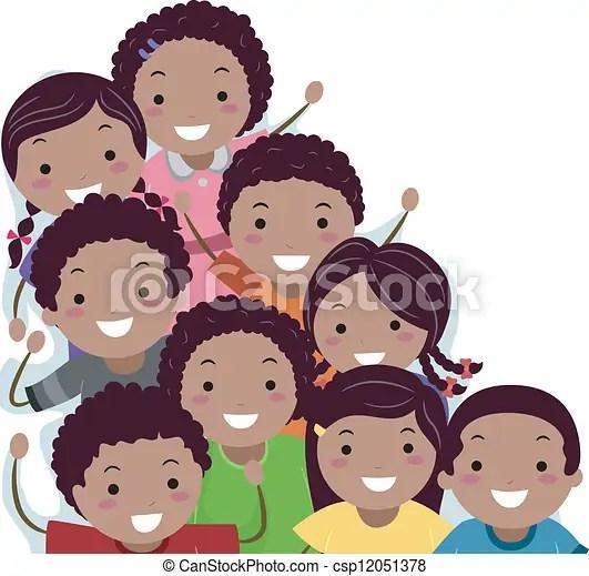 African American Stickman Kids Border Border Illustration