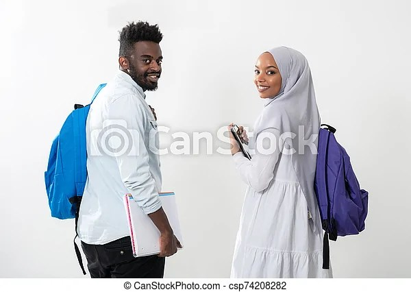 20 muslim couples photos from your favorite hijabi bloggers. Young African Students Couple Walking Woman Wearing Traditional Sudan Muslim Hijab Clothes Business Team Isolated On White Canstock
