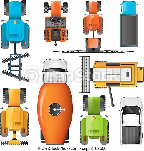 Agricultural Machinery Top View Pictograms Set Modern