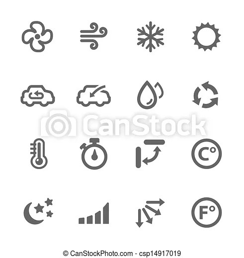 Air conditioning icons. Simple set of air conditioning