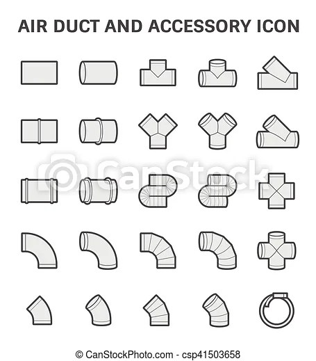 Air duct icon. Vector icon of air duct and accessory for