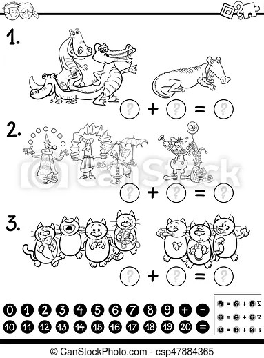 Algebra activity coloring page. Black and white cartoon