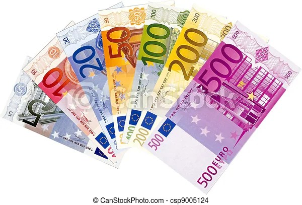 All euro banknotes. Illustration of all available euro banknotes isolated on a white background.