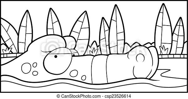 Alligator swamp. A cartoon alligator floating in the swamp.