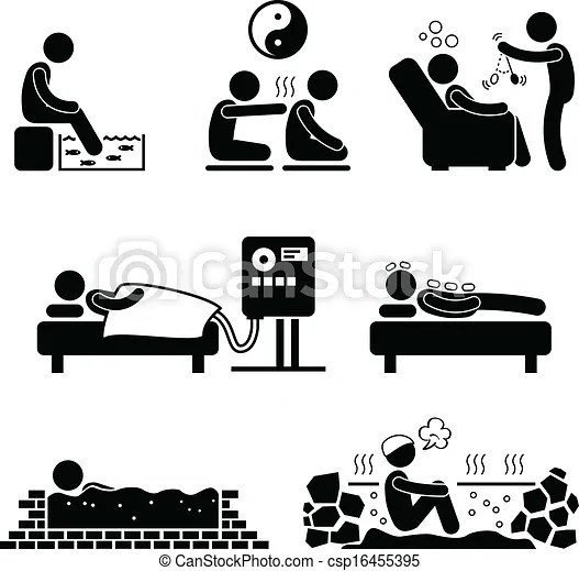 Alternate therapies therapeutic. A set of pictograms