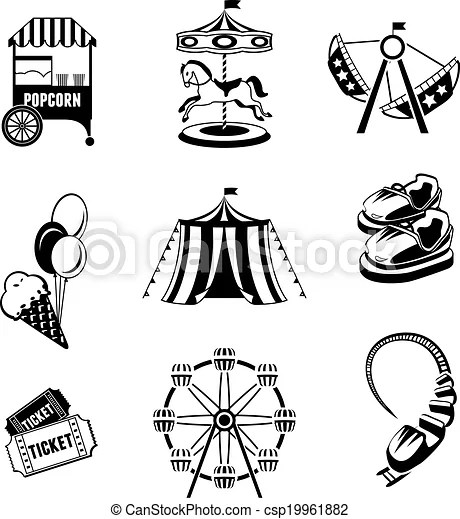 Amusement park elements. Amusement entertainment park