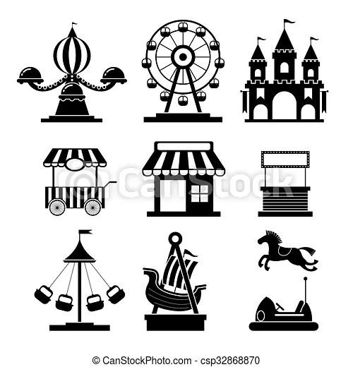 Amusement park objects icons mono set. Theme park