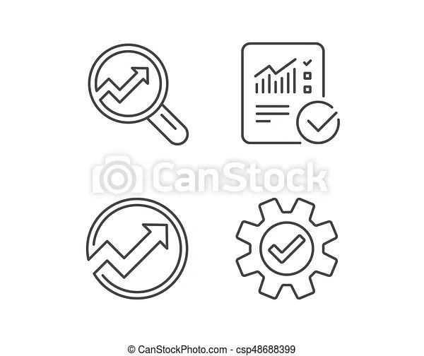 Analysis line icons. chart, report and service. Analysis