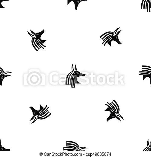 Ancient Egyptian God Anubis Pattern Seamless Black Ancient