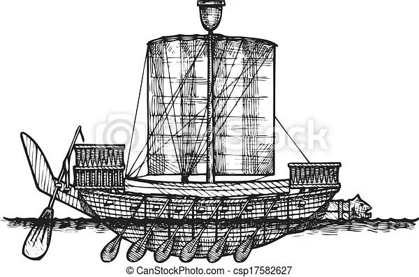 Ancient egyptian warship. Vector vintage illustration of