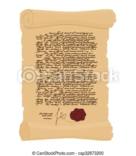Ancient royal decree with print. secret old yellow scroll. abstract calligraphy text. antique manuscript. old faded paper