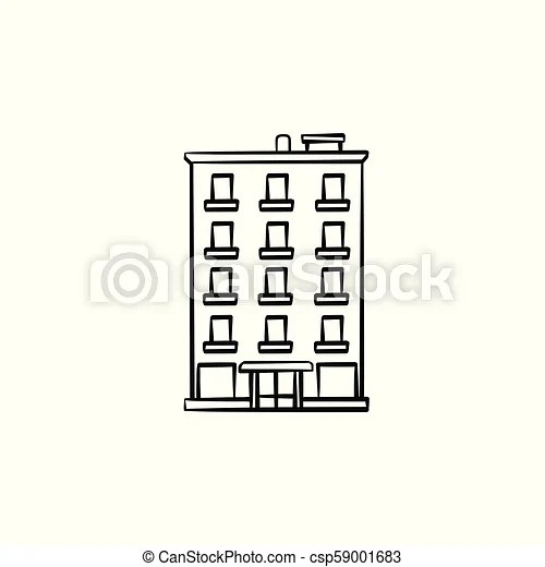 Apartment building hand drawn outline doodle icon. real