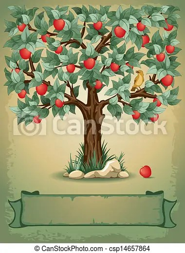 vintage background with apple tree