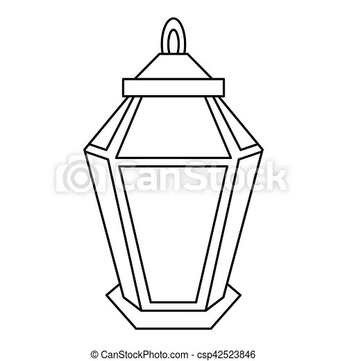 Arabic lamp icon, outline style. Arabic lamp icon. outline