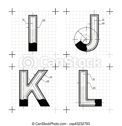 Architectural sketches of i j k l letters. blueprint style