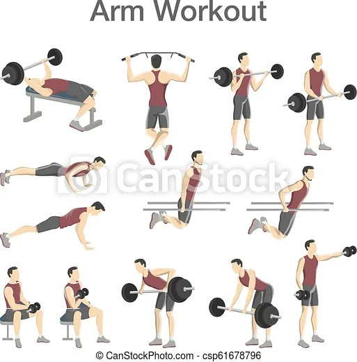 Arm workout set for men with different tools. Arm workout set for men with dumbbell and barbell. sport exercise for muscle building. fitness ...