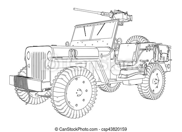 Army jeep vector. Army jeep illustration vector.