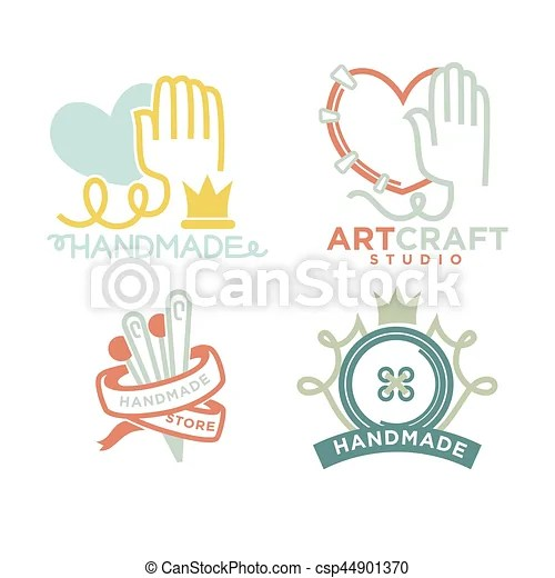 Art And Handmade Craft Logo Templates Flat Set Vector Posters For Artist Studio Or Painter Shop Knitting Needlework And