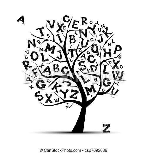 Art tree with letters of alphabet for your design.