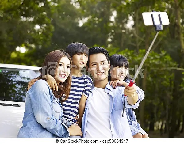 asian family taking a
