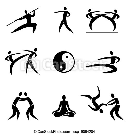 Simple sport pictogram asian martial arts icons vector