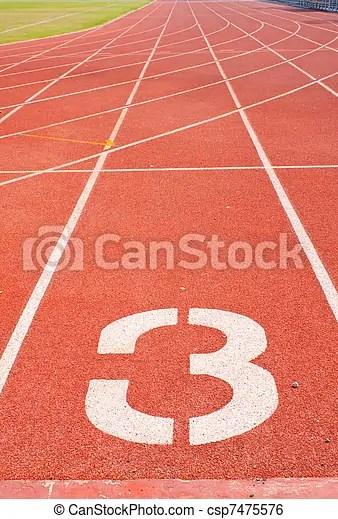 Athletics track number three. The beginning of the athletics track. the start of the athletics.