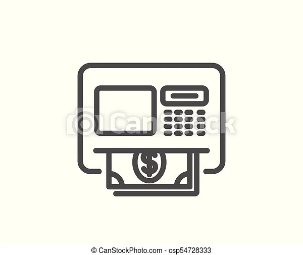 Atm line icon. money withdraw sign. payment machine symbol