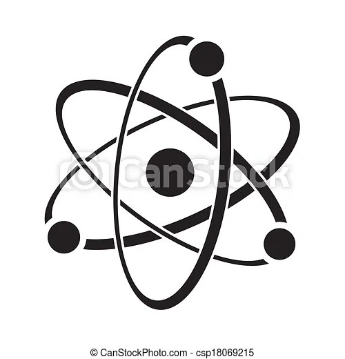 Atom. Black vector illustration of atom icon on white.
