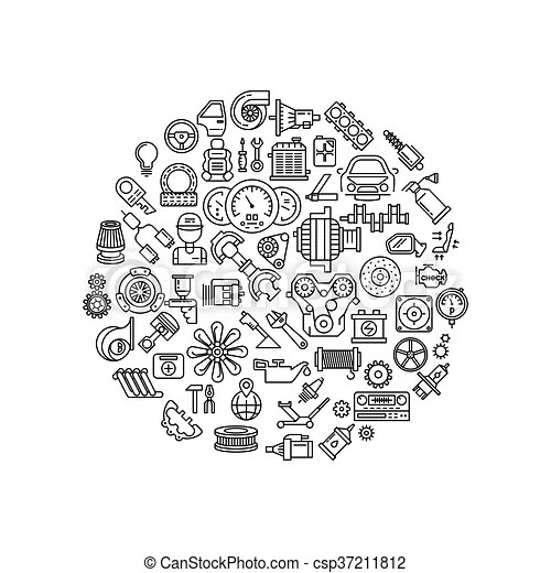 Auto spare parts line vector icons in circle composition