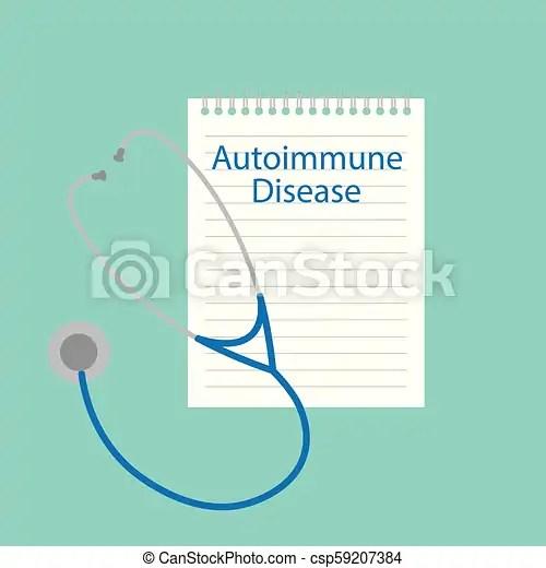 Autoimmune disease written in a notebook- vector illustration.