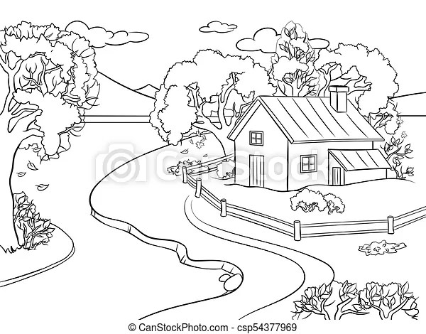 Autumn landscape coloring book vector. Autumn landscape