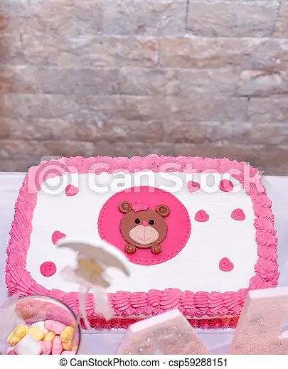 Baby Girl First Birthday Cake With Teddy Bearimage Of A