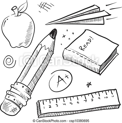 Back to school items sketch. Doodle style school theme