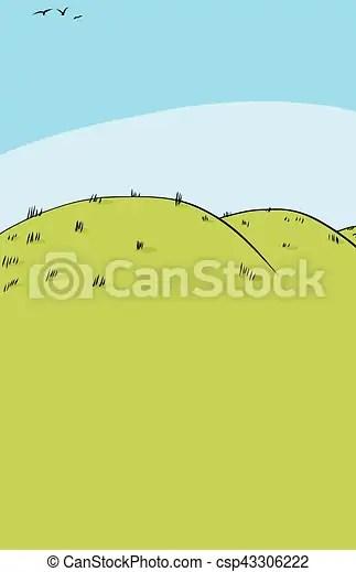 Rolling Hills Drawing : rolling, hills, drawing, Background, Rolling, Hills., Cartoon, Hills, Three, Birds, Flying, CanStock