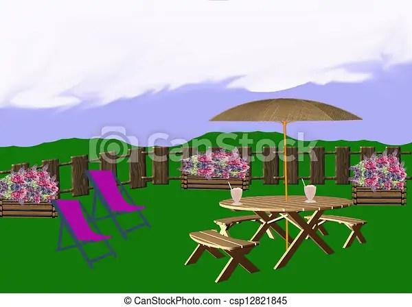 Backyard landscape illustration Backyard landscape