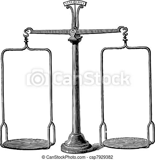 Balance scale vintage engraving. Old engraved illustration