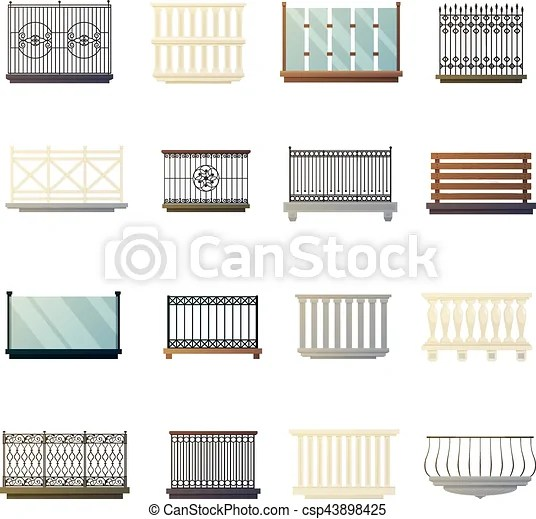Balcony railings design flat icons collection. Steel iron