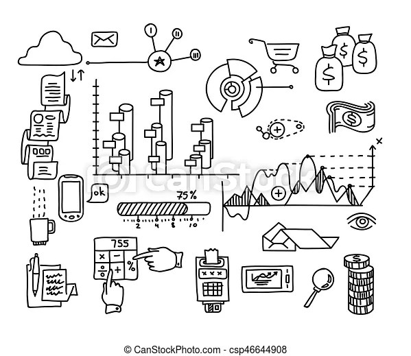 Bank business finance analytics earnings hand draw doodle